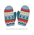 winter warm mittens with a pattern of stars and vector image