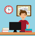 young man in the workplace office vector image vector image