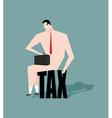 Sad businessman sitting on tax depressive Naked vector image