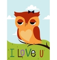 Cartoon owl on a tree branch card vector image
