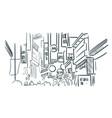 asia seul street sketch city vector image
