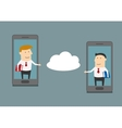 Businessmen exchange information via cloud service