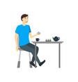 cartoon character man eating food at the table vector image vector image