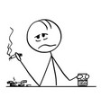 cartoon drunk or depressed man with cigarette vector image vector image