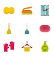 Cleaning icons set flat style vector image vector image