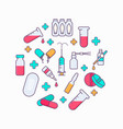 collection of medicine tools vector image vector image