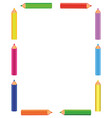colorful pencils frame vector image