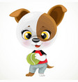 cute cartoon baby dog with ball isolated vector image vector image