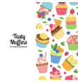 cute cartoon muffins or cupcakes background vector image vector image
