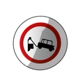 dotted sticker with sign with tow truck vector image vector image