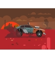 Driving Fast Retro Car Through Desert vector image vector image