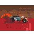 Driving Fast Retro Car Through Desert vector image vector image