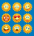 emoji sun and sad icon set vector image vector image