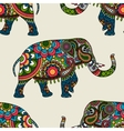 Ethnic indian elephant colored seamless background vector image vector image