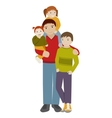 Father with three children Cartoon