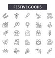 festive goods line icons for web and mobile design vector image vector image
