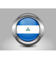 Flag of Nicaragua Metal and Glass Round Icon vector image vector image