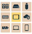 gadget icons set with flash drive tablet laptop vector image