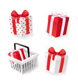 gift boxes decorated with ribbons isolated icons vector image