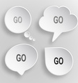 Go White flat buttons on gray background vector image