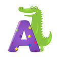 Green Alligator With Letter vector image vector image