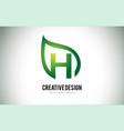 h leaf logo letter design with green leaf outline vector image vector image