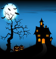 Halloween night background with castle and vector image
