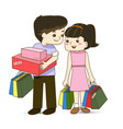 happy couple with shopping bags in hand vector image vector image