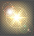 heat sun with glare lens flare vector image vector image