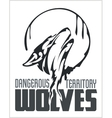 Howling Wolf emblem - dangerous territory vector image vector image