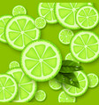 lime green background sliced limes pieces with vector image vector image