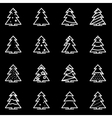 line christmas tree icon set vector image