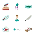 Malaria icons set cartoon style vector image vector image