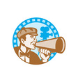 Movie film director with bullhorn and camera retro vector | Price: 1 Credit (USD $1)