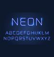 Neon light font alphabet letters set blue