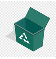 open garbage container with recycling sign icon vector image vector image