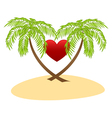 palms and red heart vector image vector image