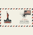 postcard with new york statue of liberty vector image vector image