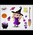 purple halloween cartoon set of objects for vector image vector image