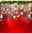 Shiny red background with christmas decoration vector