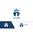 ship and arrow up logo combination boat vector image