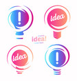 stylized lightbulbs logo set new idea and vector image