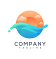sunset wave logo design ready to use vector image vector image