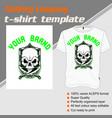t-shirt template fully editable with skull vector image vector image