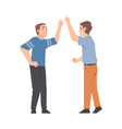 two men giving high five cheerful friends and vector image vector image