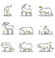 winter animals cartoon in outline set vector image vector image