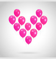 background with heart from helium balloons vector image