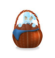 fluffy easter bunny is looking out wicker basket vector image