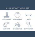 6 activity icons vector image vector image