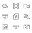 9 camera icons vector image vector image